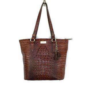 BRAHMIN Handbag Melbourne Pecan Croc Leather Tasse